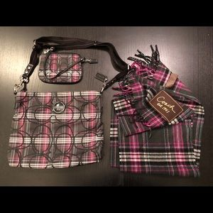 Coach plaid purple black hobo, scarf, wristlet